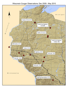 Cougar map from the Wisconsin DNR